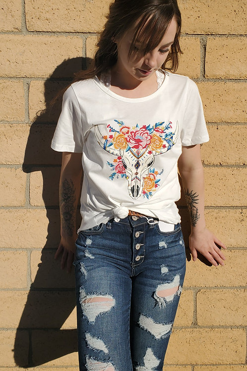 BULL HEAD & EMBROIDERED FLOWERS WHITE TEE TOP #738