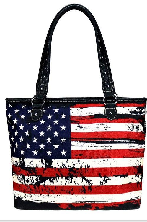 MONTANA WEST AMERICAN FLAG CANVAS TOTE BAG PURSE #203