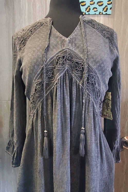 CHARCOAL GREY LONG SLEEVE TOP WITH LACE DETAIL #681