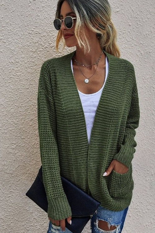 OLIVE & BLACK KNIT CARDIGAN SWEATER WITH POCKETS #466