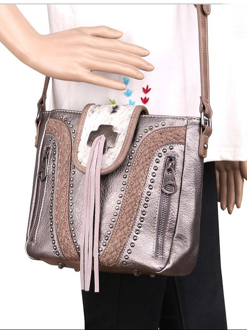 PEWTER MONTANA WEST COWHIDE COLLECTION CONCEALED CARRY CROSSBODY PURSE #281