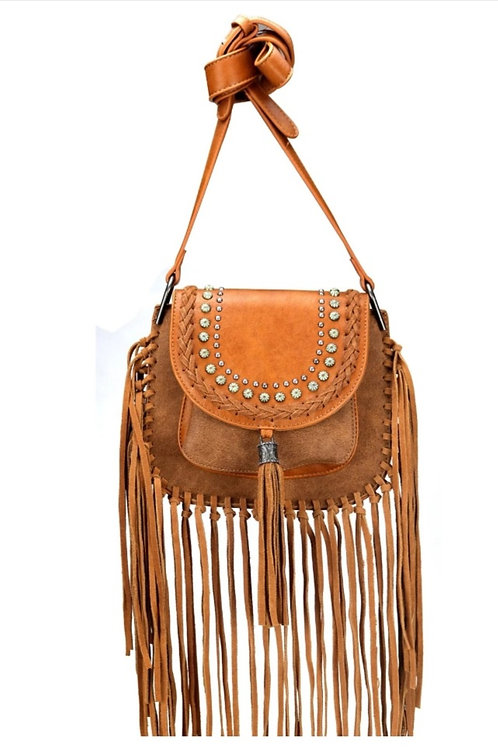 MONTANA WEST MESSENGER STYLE FRINGE PURSE IN BROWN #008