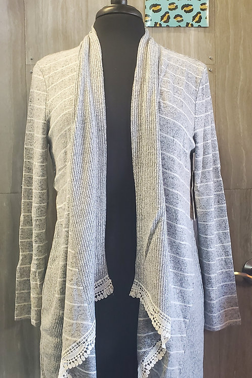 GREY STRIPED RIBBED CARDIGAN WITH LACE TRIM SUPER SOFT! #570