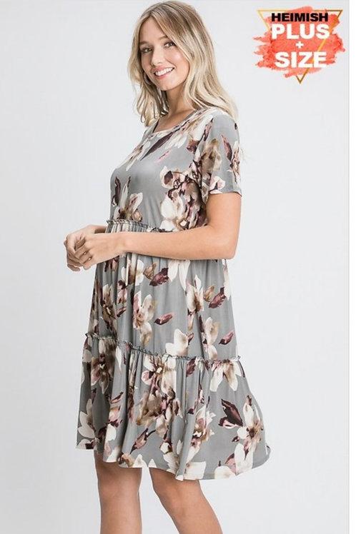 PLUS SIZE GREY FLORAL DRESS #750