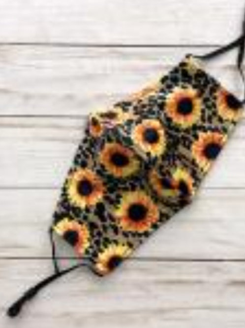 SUNFLOWER ON LEOPARD PRINT MASKS WITH ADJUSTABLE EAR STRAPS #428