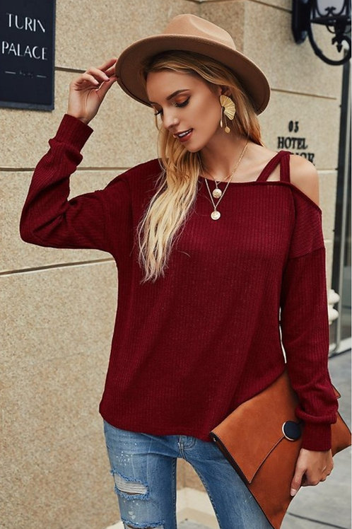 WINE COLORED CRISS CROSS COLD SHOULDER SWEATER #274