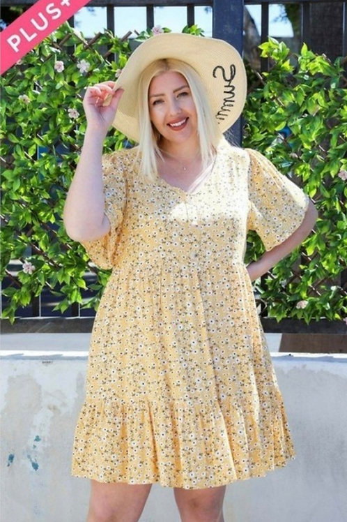 PLUS SIZE YELLOW SUMMER DRESS WITH DAISY PRINT #761