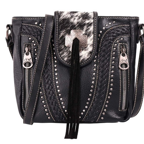 BLACK MONTANA WEST COWHIDE COLLECTION CROSSBODY CONCEALED CARRY PURSE BAG #