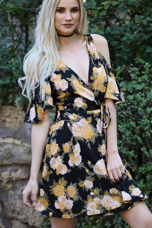 BLACK & YELLOW FLORAL WRAP DRESS WITH COLD SHOULDER #212