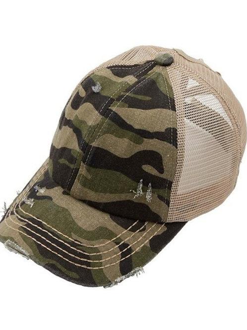 OLIVE CAMO ELASTIC BAND C.C. BRAND CAP HAT #214