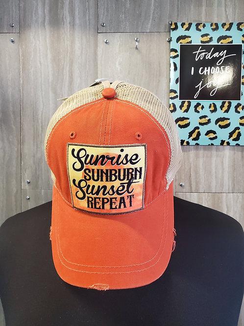 SUNRISE SUNBURN SUNSET REPEAT BURNT ORANGE PONYTAIL HAT CAP #675