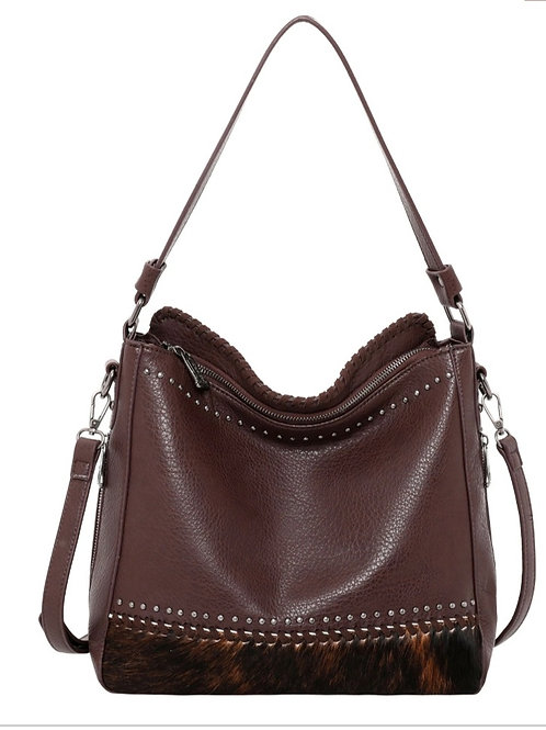 MONTANA WEST HAIR ON CONCEALED CARRY PURSE BAG COFFEE #641