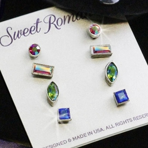 STUDD SWAROVSKI CRYSTAL EARRINGS  7 DIFFERENT COLOR CHOICES Set of 4 pair #527