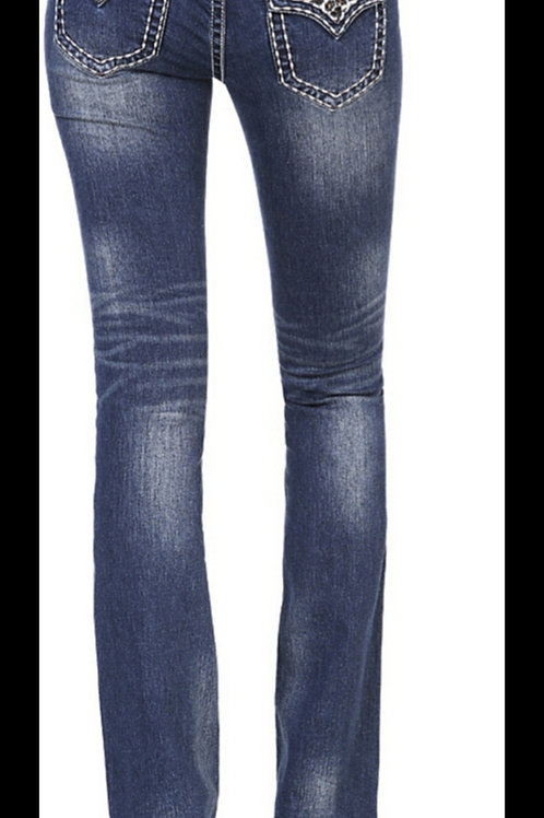 GRACE IN LA EASY FIT BOOT CUT JEANS WITH LEOPARD PRINT DETAILS #282