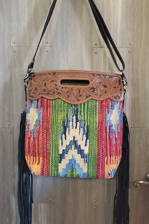 HAND TOOLED COLORFUL WOVEN FRINGE WITH ADJUSTABLE STRAP #522