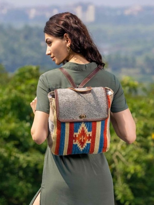 MYRA BAG CANVAS & WOVEN COTTON & HAIR ON LEATHER BACKPACK PURSE #710