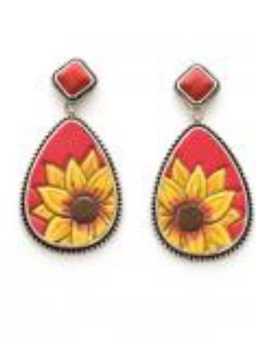 SUNFLOWER ON CORAL BACKGROUND EARRINGS #433
