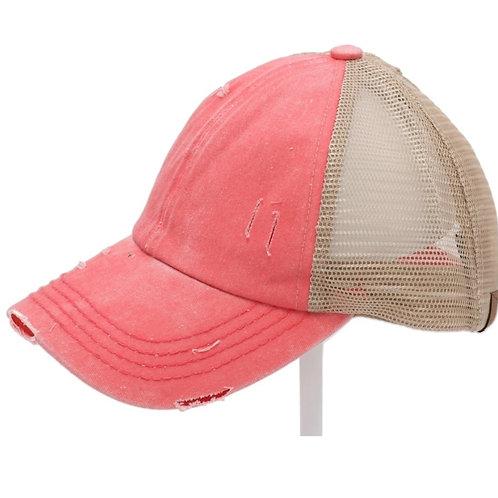 CORAL DENIM C.C ELASTIC PONY CAP HAT #222