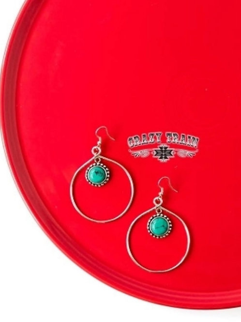 BEAR CREEK TURQUOISE & SILVER EARRINGS BY CRAZY TRAIN #733