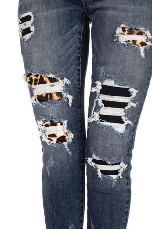 GEMMA HIGH RISE ANKLE SKINNY LEOPARD ACCENTS KANCAN JEANS #325