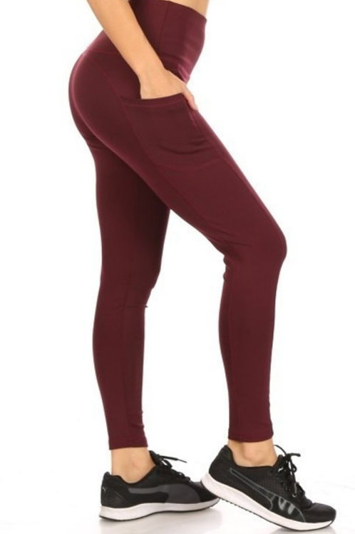 HIGH-WAISTED TUMMY CONTROL LEGGINGS WITH POCKETS IN BURGUNDY & BLACK #496