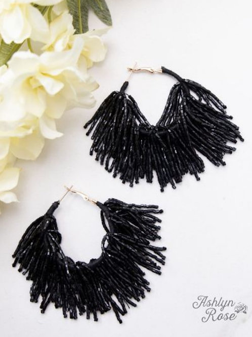 WESTERN FRINGE BEADED EARRINGS IN BLACK & BROWN #317