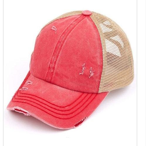 RED WASHED DENIM CRISS CROSS PONY CC BALL CAP #247