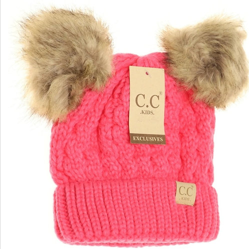 KIDS CABLE KNIT DOUBLE FUR POM BEANIE IN 5 COLORS! #301