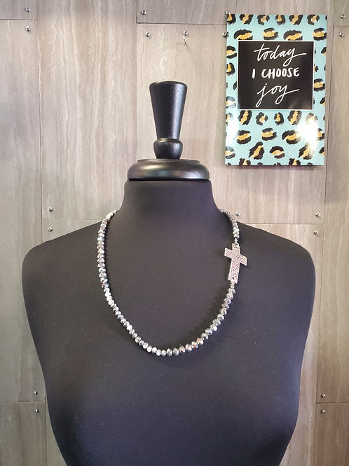 SILVER & WHITE BLOCKED SPARKLE BEAD WITH BURNISHED SILVER CROSS NECKLACE #624