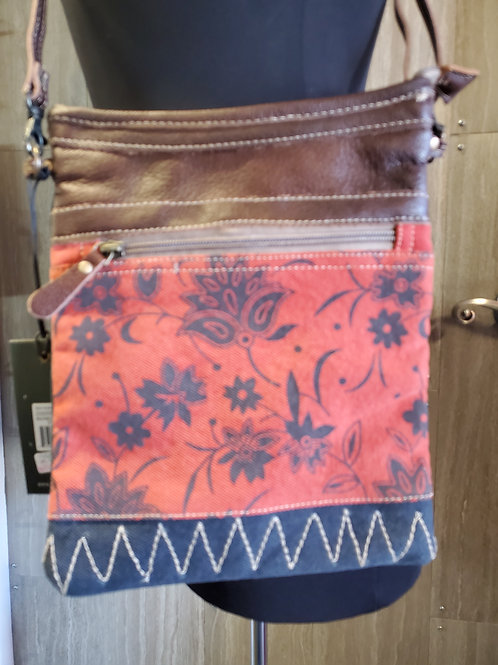 BLOOM RED & NAVY CANVAS & LEATHER MESSENGER STYLE PURSE #532