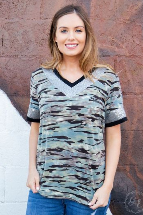 CAMO SPARKLE V-NECK TEE SIZES SMALL TO 2X AVAILABLE #679