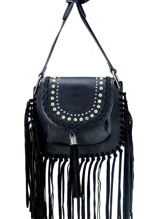 MONTANA WEST CROSSBODY PURSE BAG WITH FRINGE BLACK #649