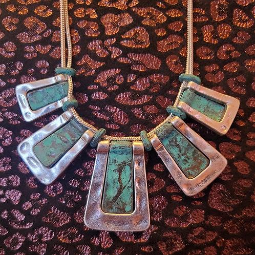 RAIN JEWELRY GEOMETRIC BAR PATINA & SILVER NECKLACE & EARRINGS SET #394