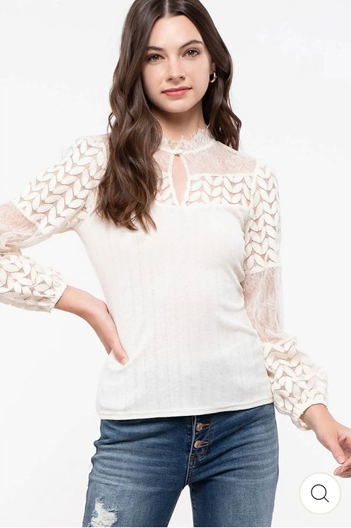 CREAMY KNIT LACE TOP BLOUSE #440