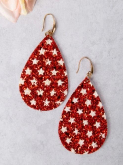 STAR SPANGLED & SPARKLING EARRINGS RED #677
