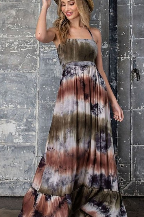 OLIVE & RUST COLORED TYE DYE MAXI DRESS WITH SMOCKED BODICE #655