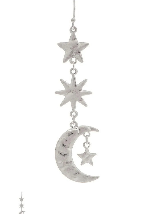 "RAIN JEWELRY SILVER STAR EARRINGS 2.5"" DROP #503"