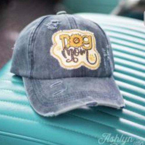 DOG MOM SUNFLOWER & LEOPARD DENIM BLUE PONYTAIL HAT CAP #769
