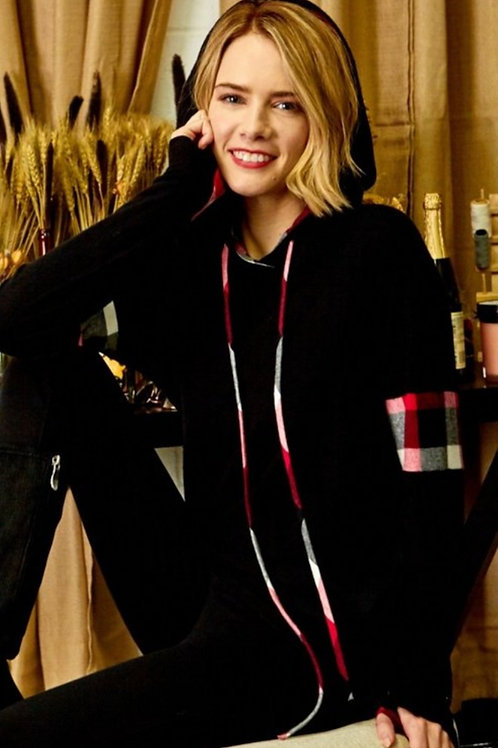 BLACK HOODED SWEATER WITH RED CHECK DETAILS #437