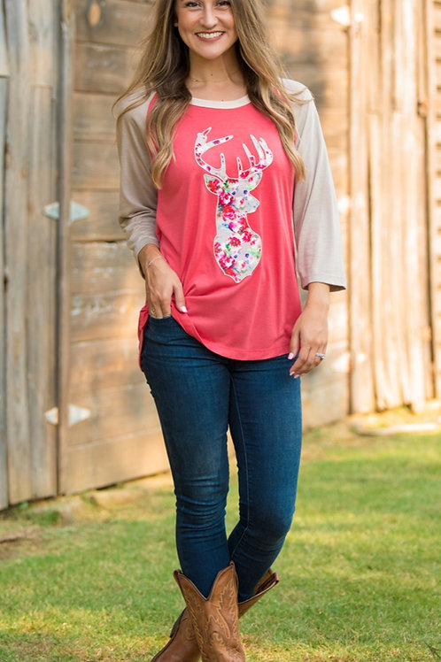 3/4 SLEEVE GRAPHIC TEE DEER SILHOUETTE IN SIZES SMALL TO 2X #479