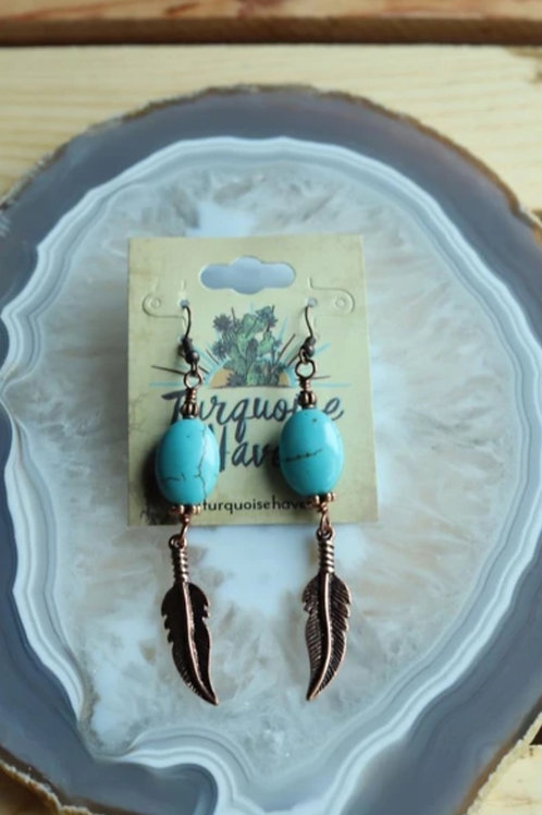 "TURQUOISE & FEATHER ANTIQUE BRONZE EARRINGS 3"" DROP  #187"