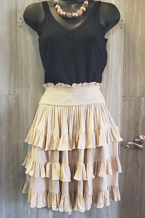 NATURAL COLORED RUFFLED SHORT SKIRT WITH ELASTIC WAISTBAND EASY FIT! #205