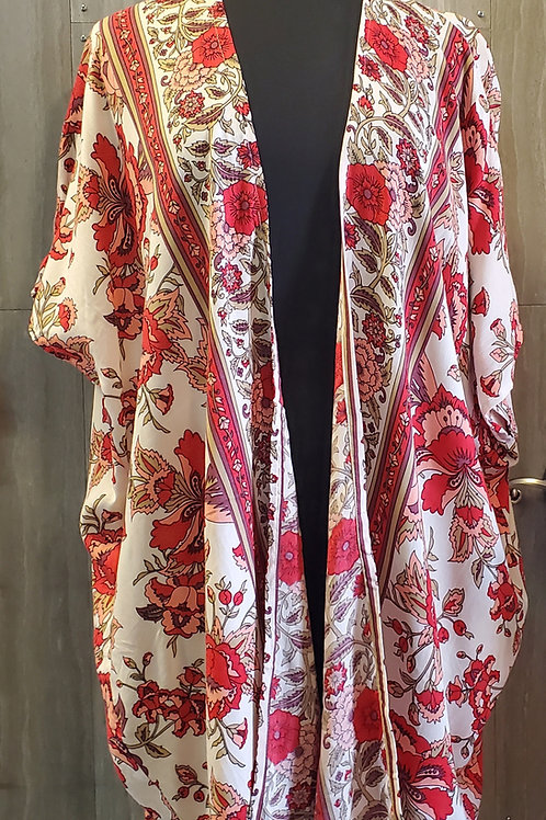 FLORAL KIMONO IN PRETTY CORAL REDS & PINKS #633