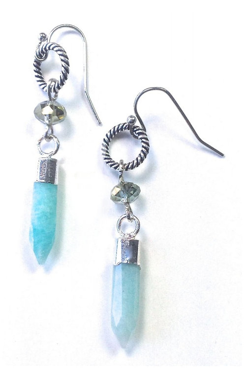 """2"""" AMAZONITE EARRINGS BY LOST & FOUND TRADING CO #018"""