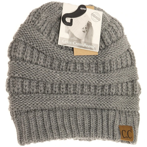 LIGHT GREY COLORED CRISS CROSS PONY CC BEANIE #288