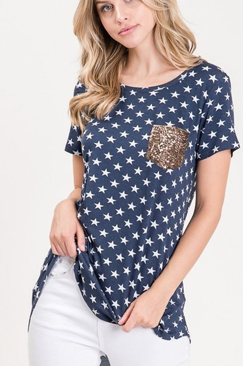 NAVY STAR 4TH OF JULY TOP WITH SEQUIN POCKET #662