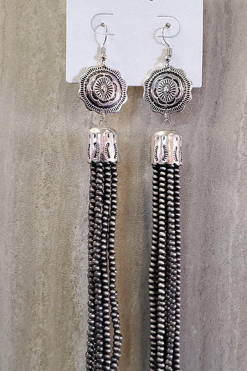 "6.5"" FAUX NAVAJO BEADED EARRINGS WITH CONCHO #556"