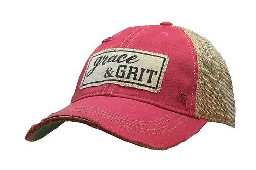 """GRACE & GRIT"" DISTRESSED BASEBALL STYLE CAP HAT #162"