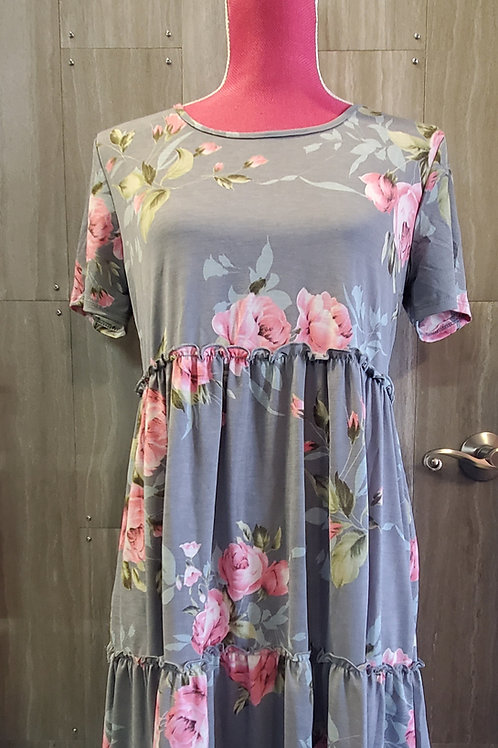 GREY AND PINK FLORAL TIERED RUFFLE DRESS #836