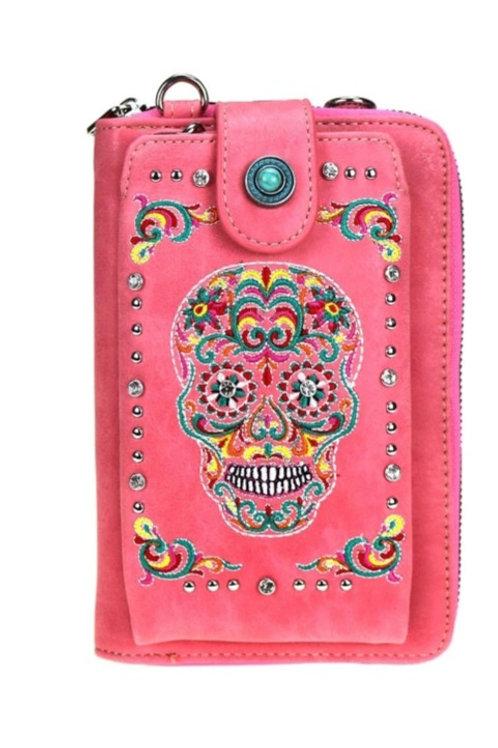 MONTANA WEST PUNK SUGAR SKULL PHONE WALLET PURSE CROSS BODY #262